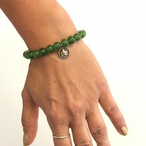 Satya Jade Stretch Bracelet with Silver Ganesha